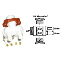 Electroválvula lavadora universal 2 Vías 180° Ø: 2x15 mm