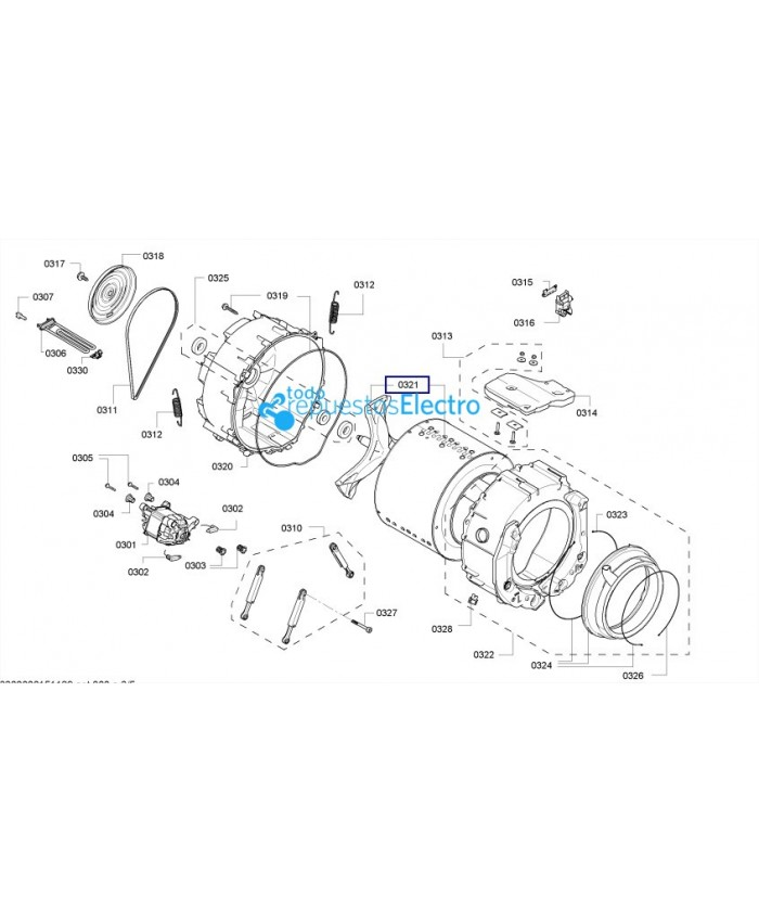 Tambor y cruceta de lavadora Bosch